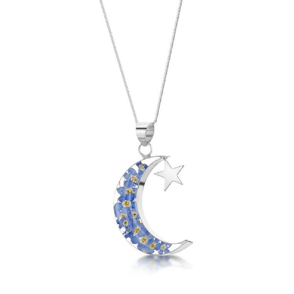 Silver Moon and Stars Pendant Necklace